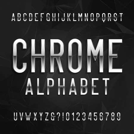 cromo: alfabeto fuente de cromo. las letras y números de efecto metálico sobre un fondo oscuro poligonal. tipo de letra vectorial para su diseño. Vectores