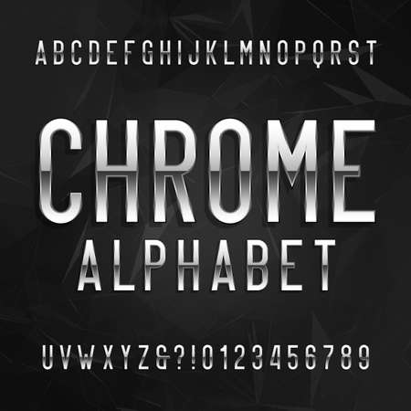 chrome: Chrome alphabet font. Metallic effect letters and numbers on a dark polygonal background. Vector typeface for your design. Illustration
