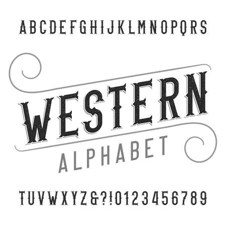 western script: Western style retro alphabet font. Distressed serif type letters, numbers and symbols. Vintage vector typography for labels, headlines, posters etc.