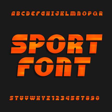 Schuin, alfabet vector lettertype. Sport stijl lettertype voor labels, titels, affiches of sportkleding transfers. Typ letters, cijfers en symbolen op de heldere achtergrond. Stock Illustratie