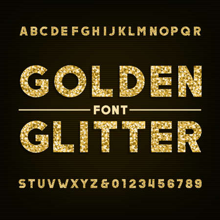 Golden glitter alphabet font. Bold letters and numbers. Stock vector typography for your design. Çizim