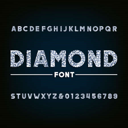 Diamond alphabet font. Brilliant letters and numbers. Stock vector typography for your design.  イラスト・ベクター素材