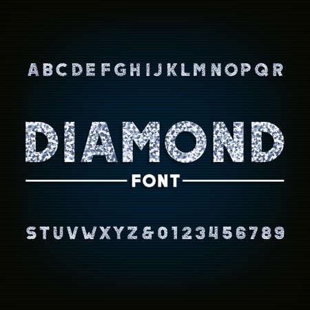다이아몬드 알파벳 글꼴입니다. 화려한 문자와 숫자. 디자인을위한 주식 벡터 인쇄술. 일러스트