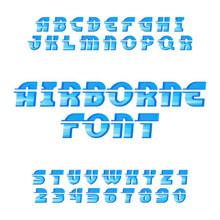 airborne: Airborne alphabet vector font. Oblique type letters and numbers on the white background.