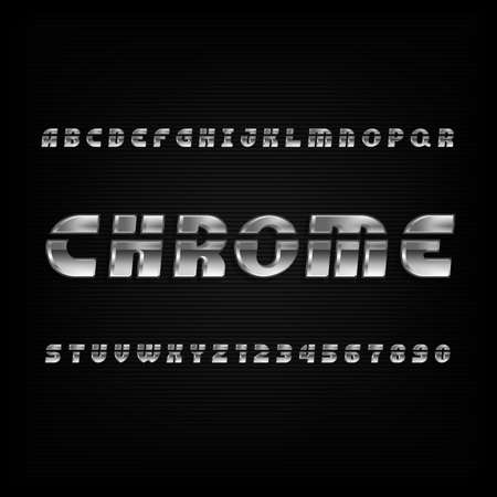 Chrome alphabet font. Metallic effect oblique letters and numbers on a dark background. Vector typography for your design.