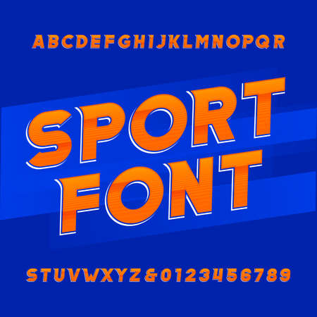 transfers: Oblique alphabet vector font. Sport style typeface for labels, titles, posters or sportswear transfers. Type letters, numbers and symbols on the blue background.