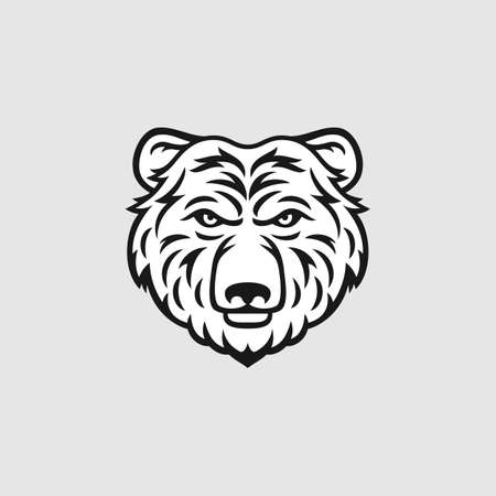hairy arms: Bear head  icon in black and white. Vector illustration.