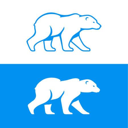 Lopende ijsbeer icoon. Vector illustratie in één kleur. Inversion versie opgenomen. Stock Illustratie