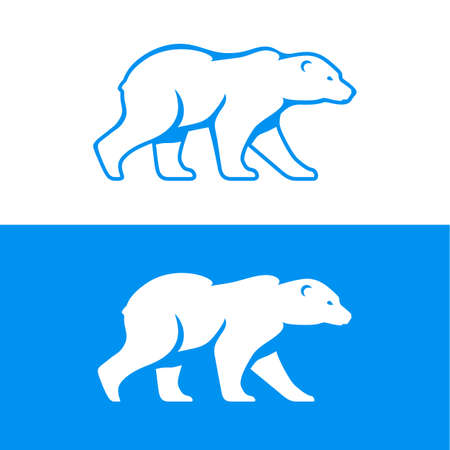 Walking polar bear  icon. Vector illustration in one color. Inversion version included. 向量圖像