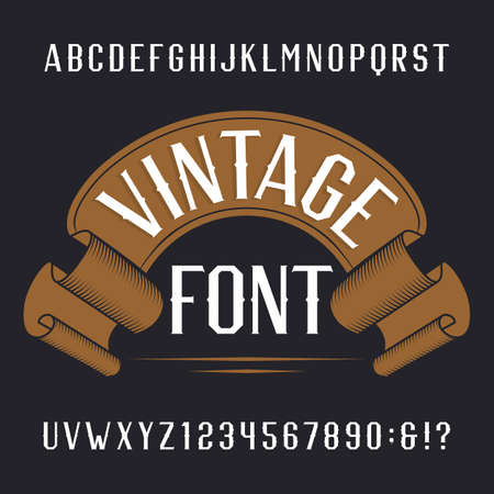 writing western: Vintage alphabet font. Letters and numbers on a dark background. Retro vector typography for labels, flyers, headlines, posters etc. Illustration