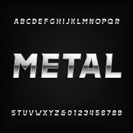 Metal alphabet font. Chrome effect oblique letters and numbers on a dark background. Vector typeface for your design. Çizim