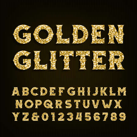 Golden glitter alphabet font. Retro style letters and numbers. Stock vector typography for your design.