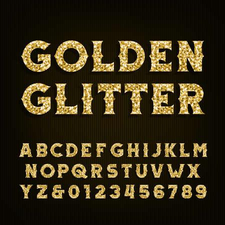 Gouden glitter alfabet lettertype. Retro-stijl letters en cijfers. Stock vector typografie voor uw ontwerp.