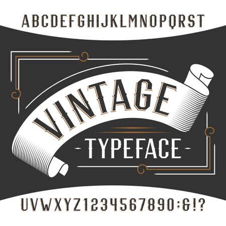 Vintage alfabet lettertype. Rust effect letters en cijfers. Retro vector lettertype voor uw ontwerp.