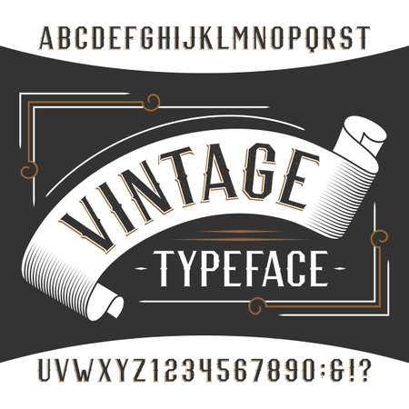titles: Vintage alphabet font. Rust effect letters and numbers. Retro vector typeface for your design.