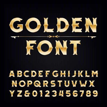 Gouden uitstekend alfabet lettertype. Metallic effect letters en cijfers. Retro vector lettertype voor uw ontwerp.