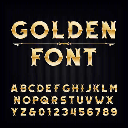 Golden vintage alphabet font. Metallic effect letters and numbers. Retro vector typeface for your design. Vettoriali