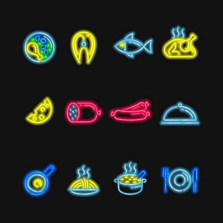 Leuchtreklamen. Die Symbole der verschiedenen Lebensmittel, Fisch und Fleisch auf einem dunklen Hintergrund.