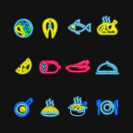 Neon signs. The symbols of different food, fish and meat on a dark background.