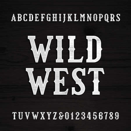 Wild West font. Vintage alphabet. Wood texture letters on a grunge wooden background. Vector typeface. Illustration