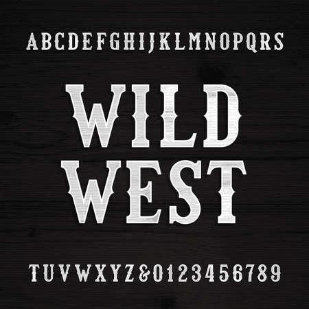 Wild West font. Vintage alphabet. Wood texture letters on a grunge wooden background. Vector typeface. Ilustração
