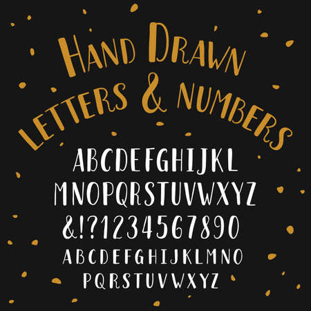 headlines: Hand drawn typeface. Alphabet vector font with small caps. Brush lettering on black background for labels, headlines, posters etc.