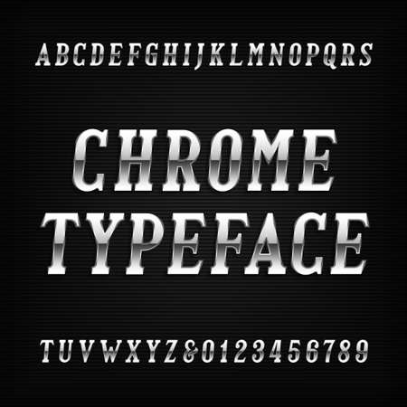 chrome alphabet: Chrome alphabet font. Metal effect italic letters and numbers on a dark background. Vector typeface for your design.