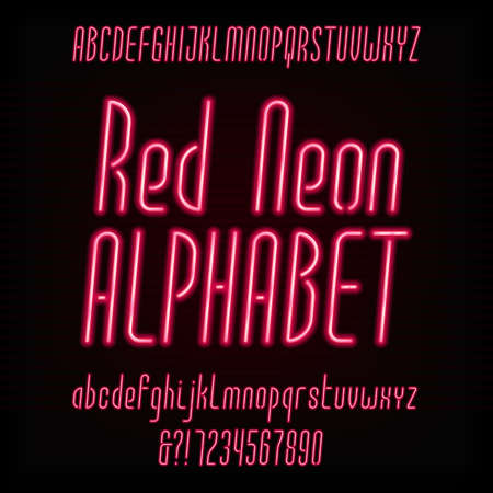 oblique: Red neon typeface. Modern oblique alphabet. Uppercase and lowercase letters and numbers. Vector font for your design. Illustration