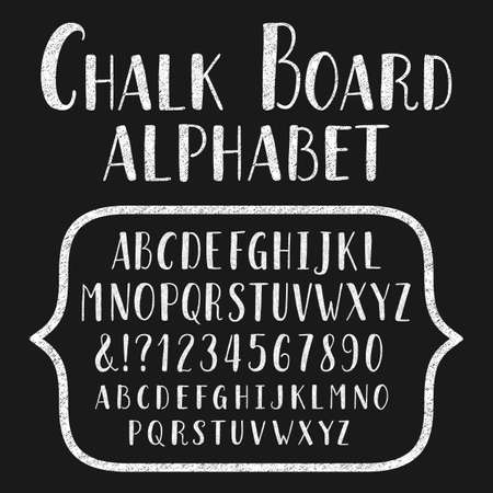 headlines: Chalk board typeface. Hand drawn alphabet. Vector font with small caps for labels, headlines, posters etc. Illustration
