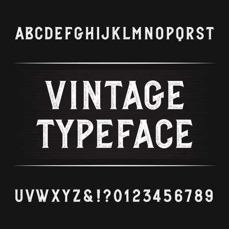 rusty: Vintage alphabet font. Distressed letters, numbers and symbols. Retro vector typography for your design. Illustration