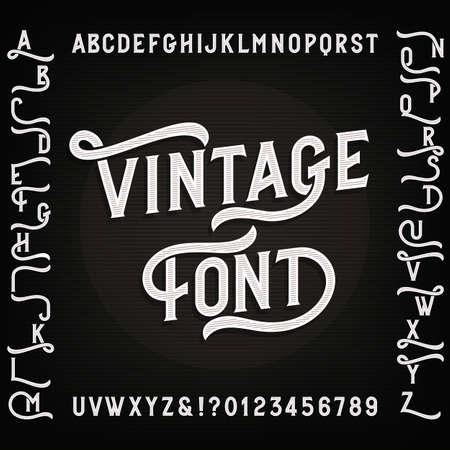 Vintage alfabet lettertype met plaatsvervangers. Letters, cijfers en symbolen. Retro vector typografie voor uw ontwerp.