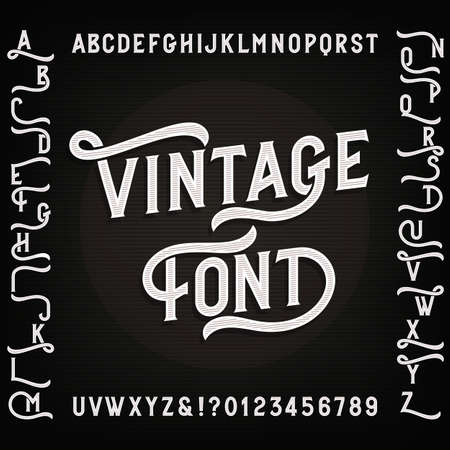 Vintage alphabet font with alternates. Letters, numbers and symbols. Retro vector typography for your design.