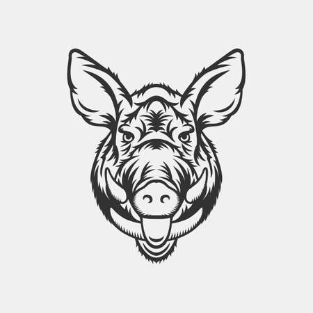 Wild boar head logo or icon in one color. Stock vector illustration.