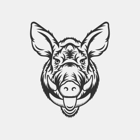 Wild zwijn hoofd logo of een icoon in één kleur. Stock vector illustratie.