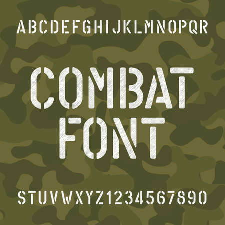 Combat alphabet font. Scratched type letters and numbers on camo background. Vector typography for your design.