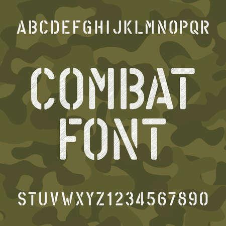 전투 알파벳 글꼴. 위장 배경에 긁힌 형 문자와 숫자. 디자인을위한 벡터 인쇄술.