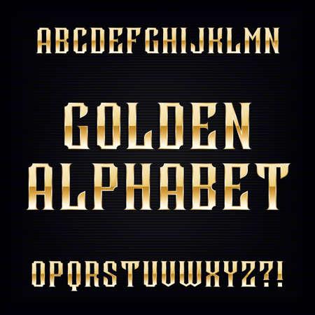 retro type: Golden vintage alphabet font. Metallic effect type letters. Retro vector typography for your design.