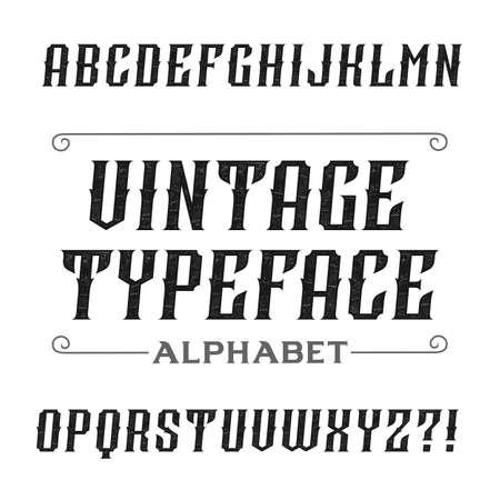 headlines: Vintage alphabet font. Oblique letters for labels, headlines, posters etc. Stock vector typography.