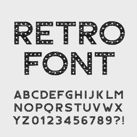 retro type: Retro alphabet font. Scratched type letters and numbers. Stock vector typography for your design.