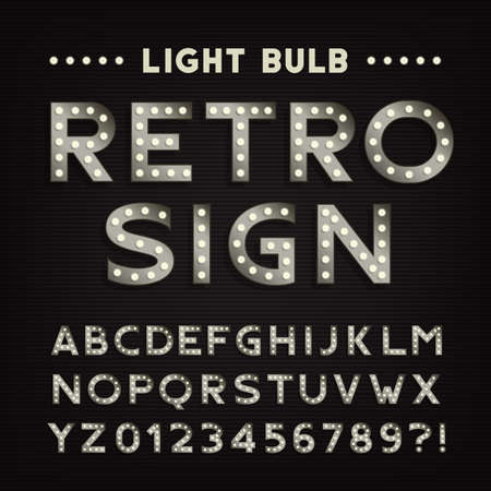 retro type: Retro sign alphabet. Vintage light bulb type letters and numbers. Signboard vector font for your design.