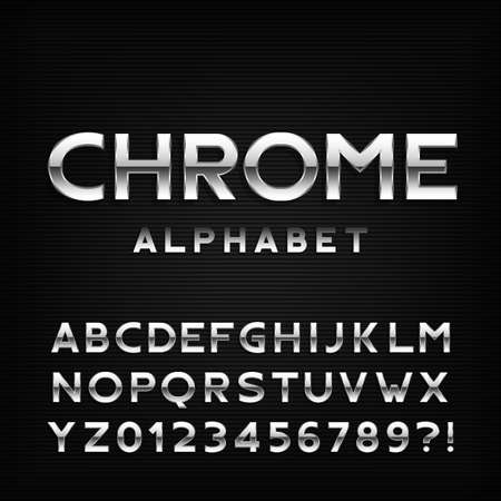 chrome letters: Chrome alphabet font. Metal effect italic letters and numbers. Stock vector typography for your design. Illustration