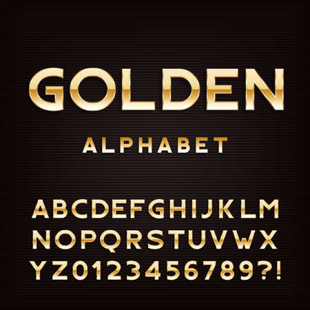 metal letters: Golden alphabet font. Metal effect letters and numbers. Stock vector typography for your design.