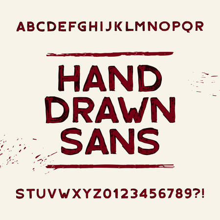 sans serif: Hand drawn alphabet font. Dirty sans serif letters and numbers. Vector typeface for your design.
