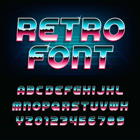 80s retro alphabet font. Metallic effect shiny oblique letters and numbers. Vector typeface for flyers, headlines, posters etc.