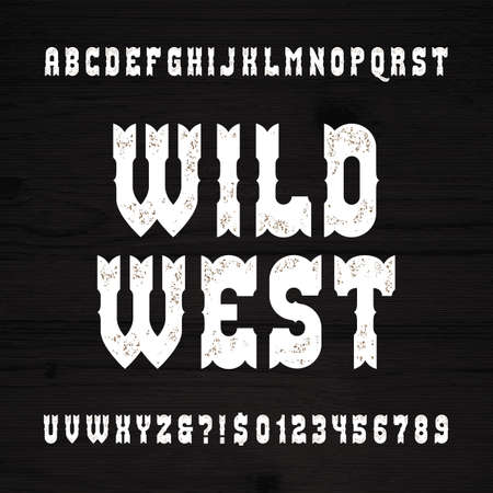 western: Wild West font. Vintage alphabet. Rough letters and numbers on a grunge wooden background. Vector typography for your design.