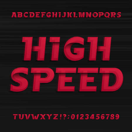 high speed: High speed alphabet font. Oblique dynamic letters numbers and symbols on a dark background. Vector typography for your design.