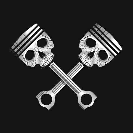 stock car: Crossed car engine pistons with skulls. Stock vector illustration. Black and white colors.