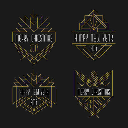 Merry Christmas and Happy New Year text. Art deco badges in outline style. 2017 Xmas card.