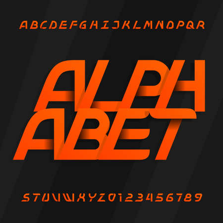 Modern alphabet vector font. Oblique type letters and numbers on a dark background. Vector typeface for your design.