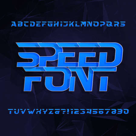 Speed ??alphabet vector font. Oblique type letters and numbers. Blue color on a dark polygonal background. Vector typeface for your design. Illusztráció